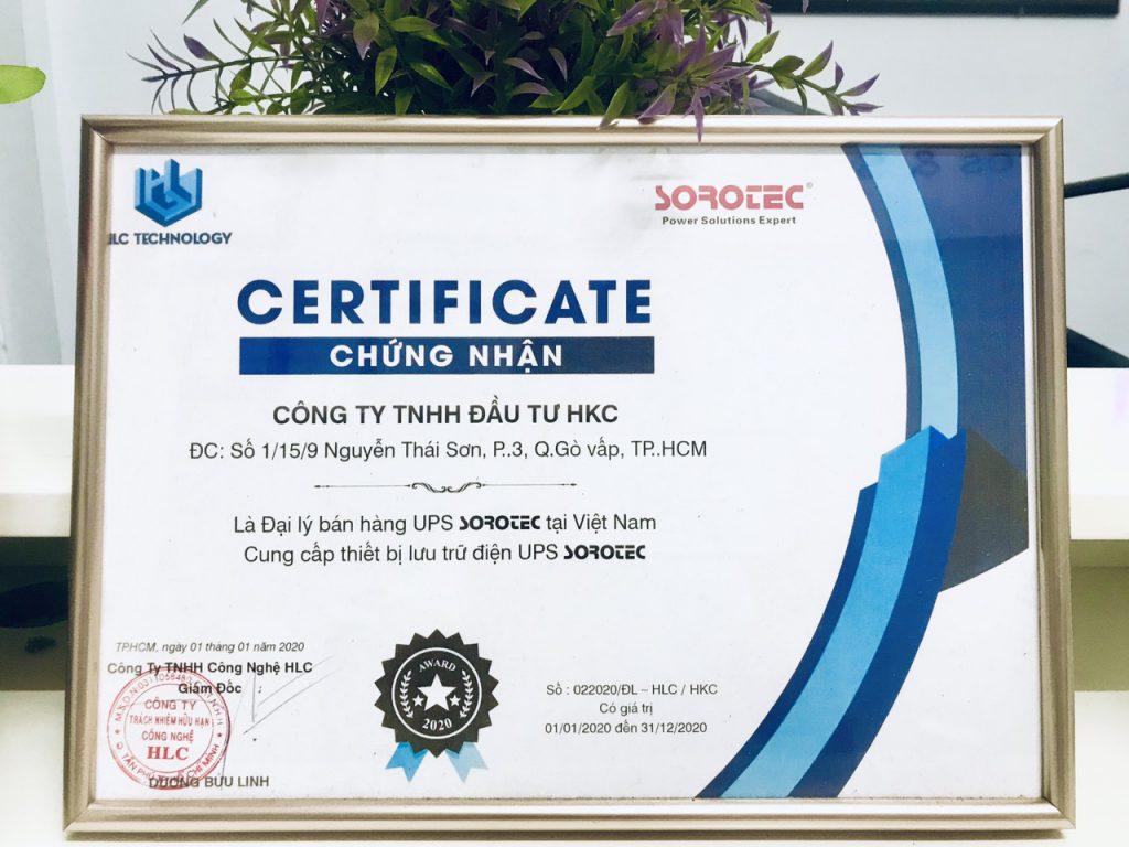 HKC LÀ ĐẠI LÝ CỦA HÃNG BỘ LƯU ĐIỆN UPS SOROTEC.