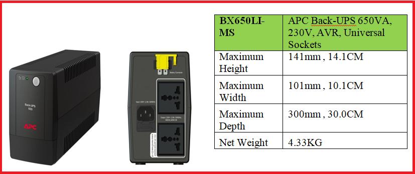 (BX650LI-MS) APC Back-UPS 650VA, 230V