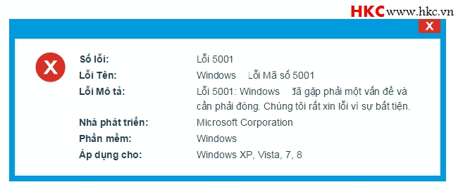 Loi ma so 5001 tren windows 7